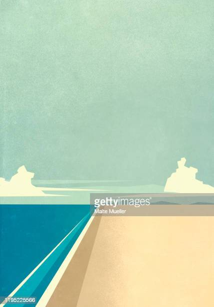 tranquil ocean beach - silence stock illustrations