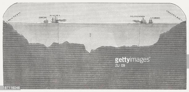 transatlantic telegraph cable in 1858, wood engraving, published 1877 - phone cord stock illustrations, clip art, cartoons, & icons
