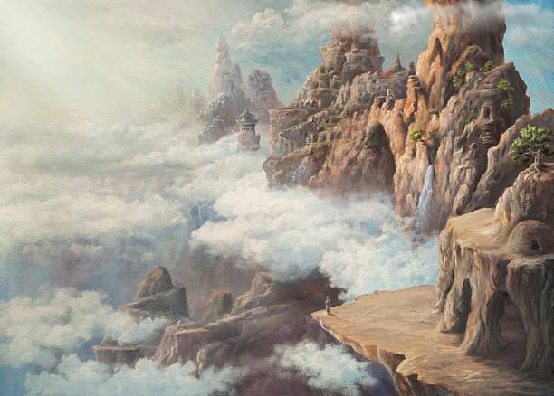 transcendental land - fantasy stock illustrations