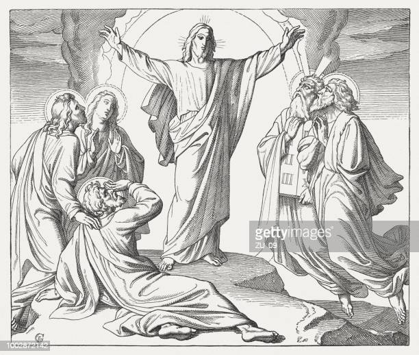 Transfiguration of Christ (Matthew 17, 1-9), wood engraving, published 1890