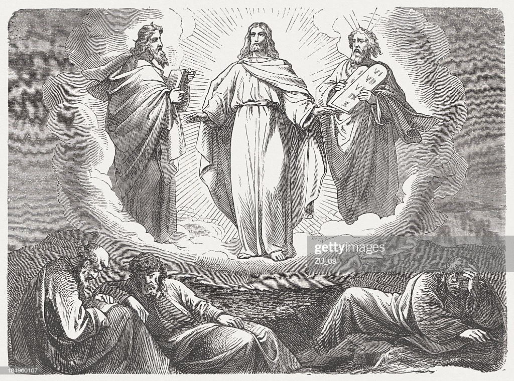 Transfiguration of Jesus, wood engraving, published in 1877 : stock illustration