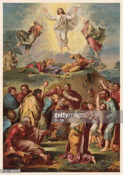 transfiguration, painted (1516/20) by raphael (1883-1520), chromolithograph, published in 1890 - classical stock illustrations