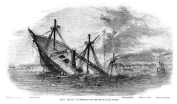 'HMS Transit' Wrecked Off Banca Island, Sumatra (1857 Engraving ILN) Wall Art