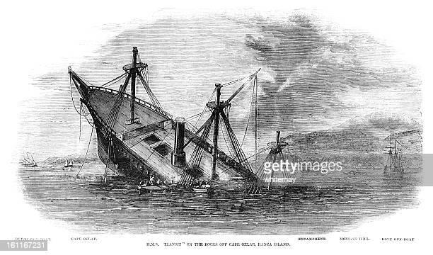 HMS Transit'naufragaram em Banca Ilha, Sumatra (1857 gravação ILN
