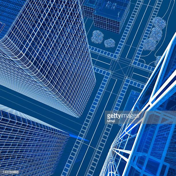 transparent wireframe building - paperwork stock illustrations