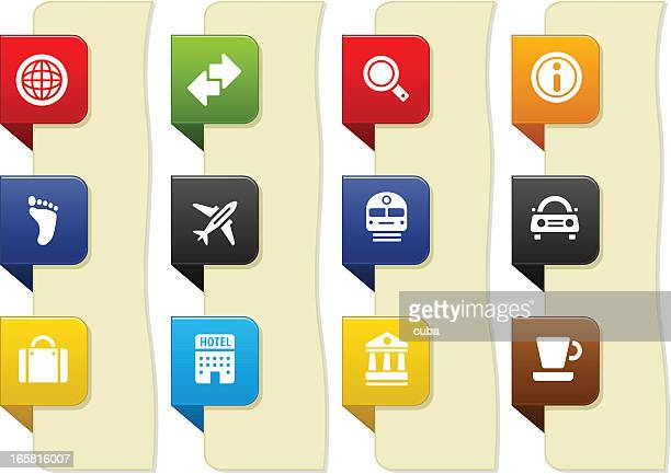 transport and tourism icons - luggage tag stock illustrations, clip art, cartoons, & icons