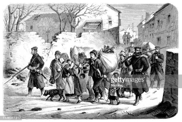 transport of the inhabitants from meudon to versailles - emigration and immigration stock illustrations