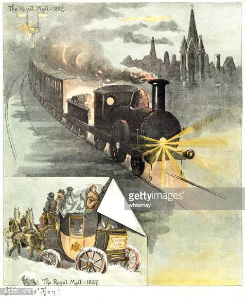 1837 年と 1887 のロイヤル メールを輸送 - 聖年点のイラスト素材/クリップアート素材/マンガ素材/アイコン素材
