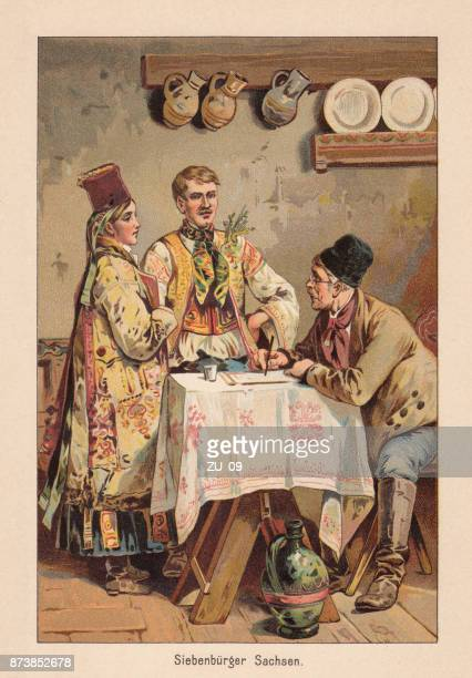 Transylvanian Saxons, German Etnie in present-day Romania, lithograph, published 1891