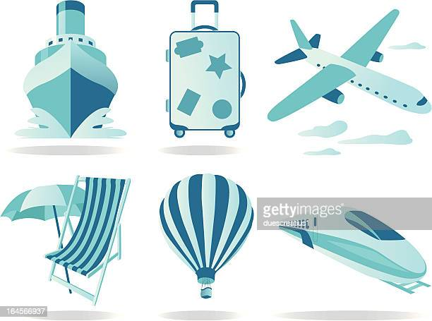 travel and transportation icons - disembarking stock illustrations