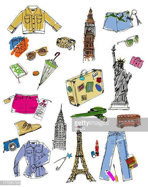travel icons - chrysler building stock illustrations, clip art, cartoons, & icons