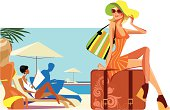 traveler woman sitting on suitcase