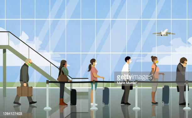 travelers in face masks waiting in line at airport - transportation stock illustrations