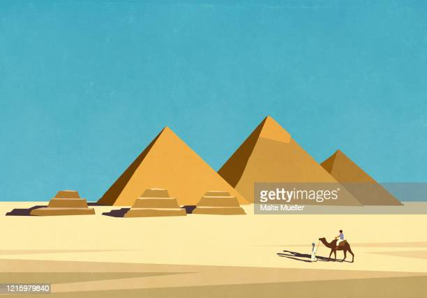 travelers with camel in front of egyptian pyramids in sunny desert - horizontal stock illustrations