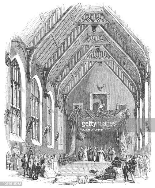 traveling morality play at a church in stratford-upon-avon, england - theater industry stock illustrations, clip art, cartoons, & icons