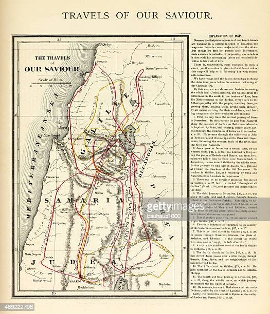 travels of our savior map engraving - new testament stock illustrations