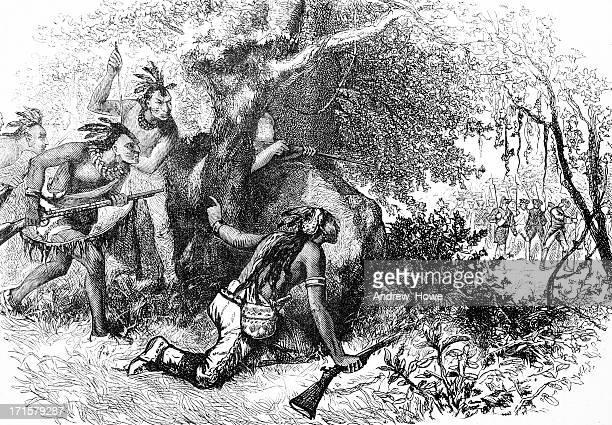 treachery of the cherokees engraving - 19th century stock illustrations