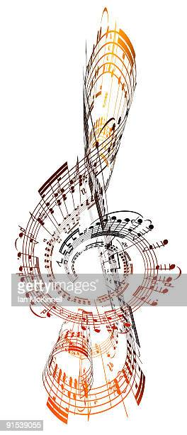 a treble clef made from sheet music - classical stock illustrations