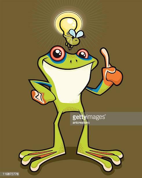 tree frog with a bright idea - webbed foot stock illustrations, clip art, cartoons, & icons
