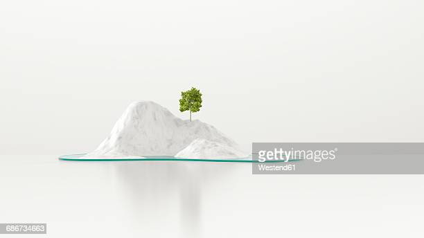 illustrazioni stock, clip art, cartoni animati e icone di tendenza di tree growing on snowcapped island, 3d rendering - copy space