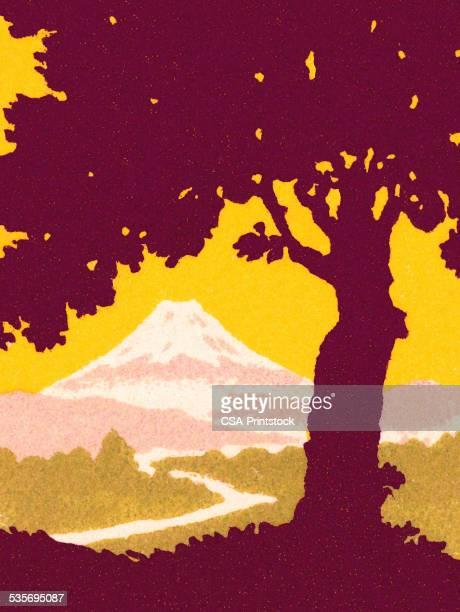 ilustraciones, imágenes clip art, dibujos animados e iconos de stock de árbol en el paisaje de montaña - mt. fuji