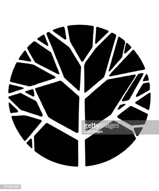 tree inside circle - branch stock illustrations