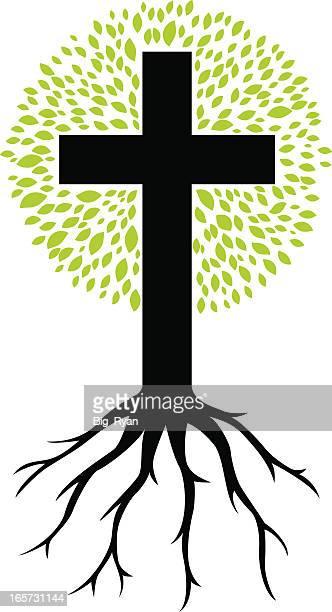 tree of life - cross shape stock illustrations, clip art, cartoons, & icons