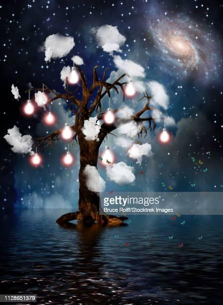 ilustraciones, imágenes clip art, dibujos animados e iconos de stock de tree of thoughts. vivid galaxy. 3d rendering. - galaxiaespiral