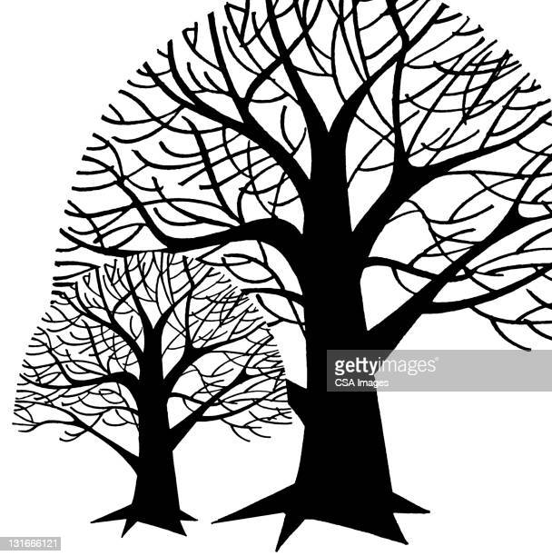 tree silhouettes - environmental issues stock illustrations