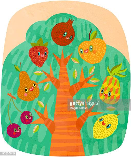 a tree with different types of fruit growing in it - natural condition stock illustrations, clip art, cartoons, & icons