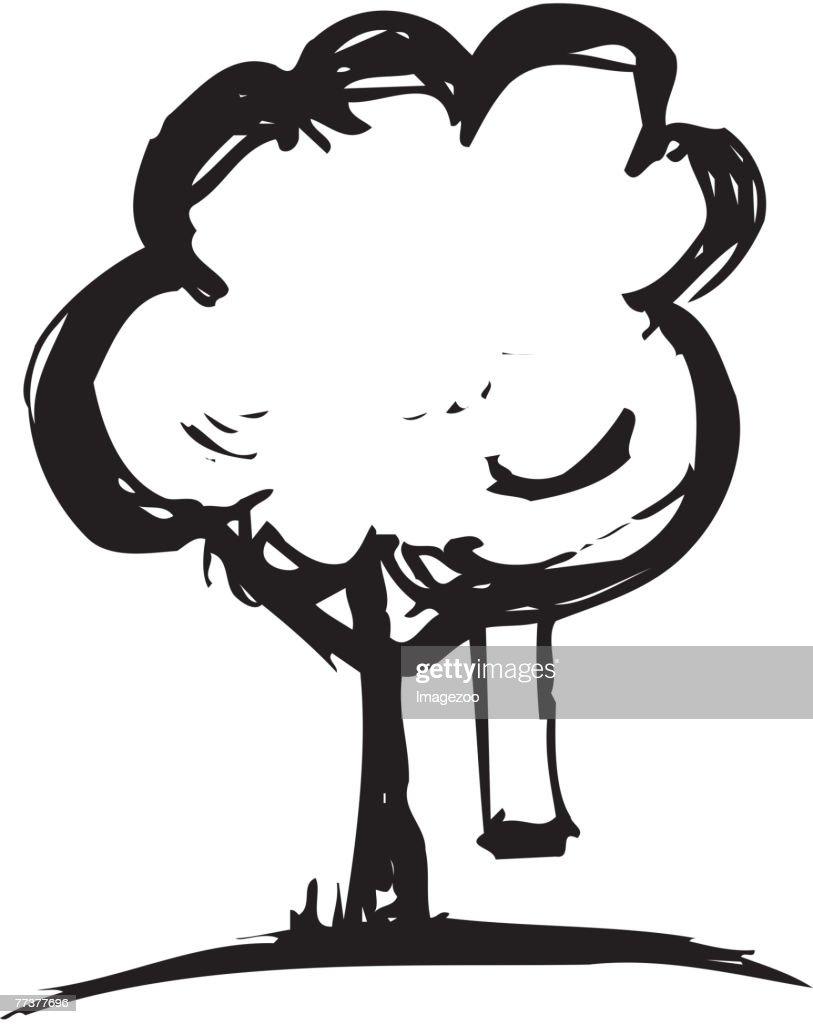 tree with swing b&w : Illustration
