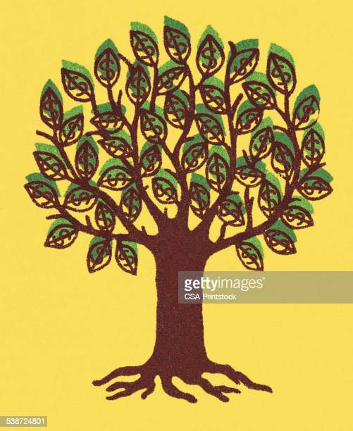 tree with yellow background - composition stock illustrations