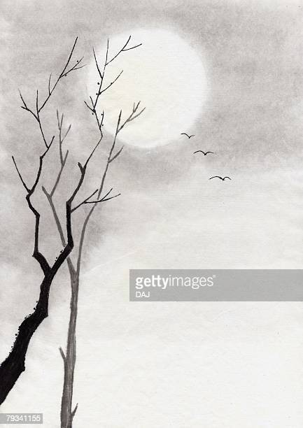 Trees and Moon, Ink Painting, Vignette