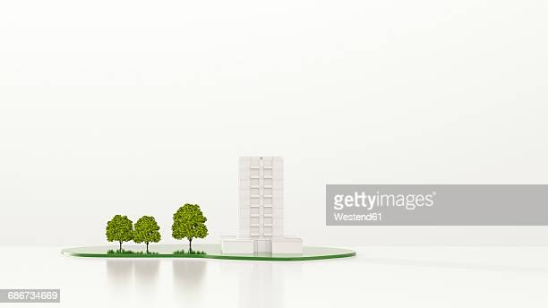 Trees in front of apartment building, 3d rendering