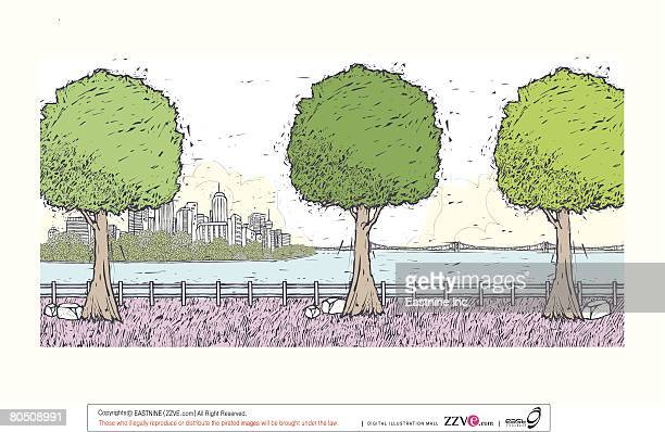 trees lined against fence with sea and cityscape in background - spire stock illustrations, clip art, cartoons, & icons