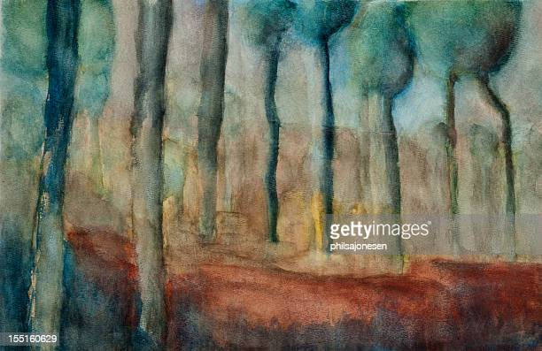 trees painting - saturated colour stock illustrations