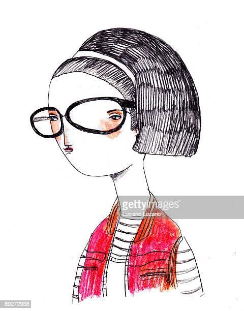 trendy - headshot stock illustrations