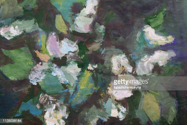 trendy spring illustration modern art work my original oil painting on canvas impressionism horizontal landscape bush bird cherry branch flowers and buds of a plant lit by the sun - classical stock illustrations
