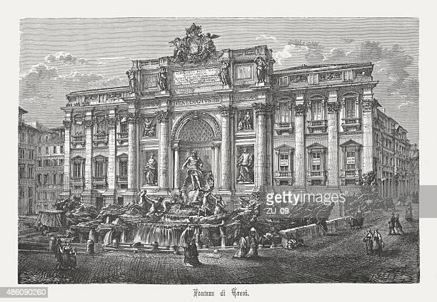 ilustraciones, imágenes clip art, dibujos animados e iconos de stock de fuente de trevi de roma, italia, publicado en 1878 - fontana de trevi