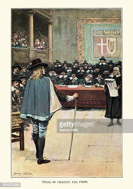 trial of king charles the first - 17th century stock illustrations, clip art, cartoons, & icons