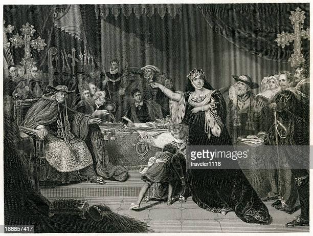 trial of queen katherine - aragon stock illustrations
