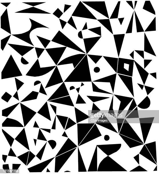triangle pattern - black and white stock illustrations