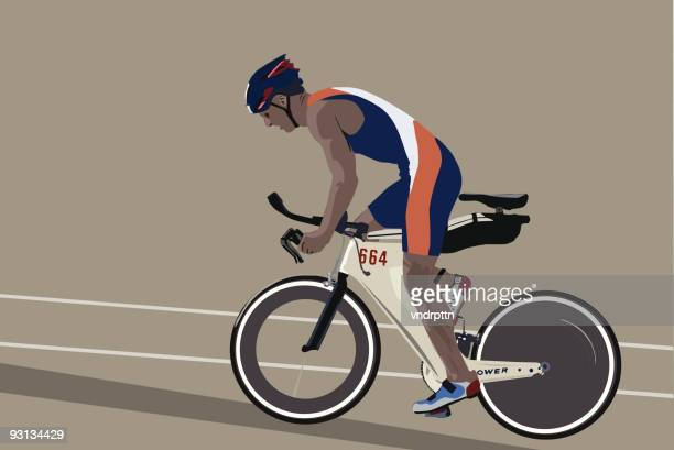 triathlon biker - racing bicycle stock illustrations