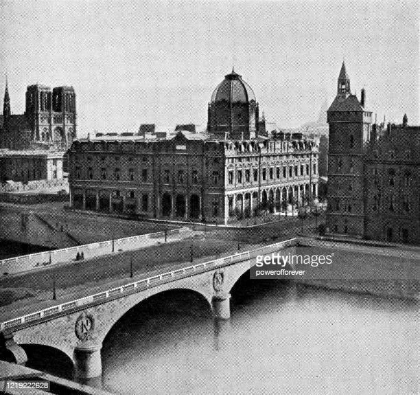 tribunal de commerce in paris, france - 19th century - powerofforever stock illustrations