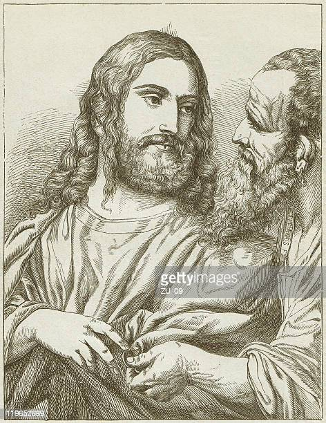 tribute money (christ of the coin), by titian (1488-1576) - tiziano vecellio stock illustrations, clip art, cartoons, & icons