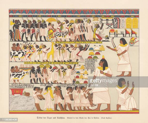 tributes of african tribes, thebes, qurnet murrai, chromolithograph, published 1879 - ancient egyptian culture stock illustrations