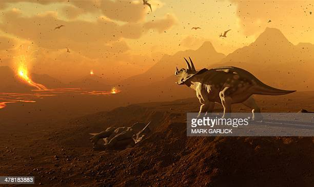 Triceratops and volcanic landscape