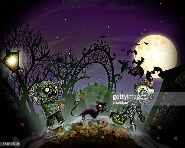 trick or treaters - village stock illustrations
