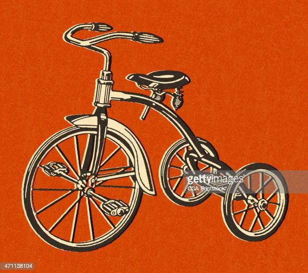 Tricycle on Red Background