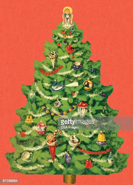 trimmed christmas tree - old fashioned stock illustrations